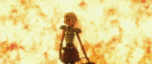 Astrid in front of burning house